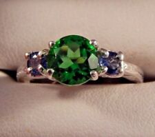 1.76 Ct. Round Moldavite w/Sapphires Sterling Silver Ring Free Sizing