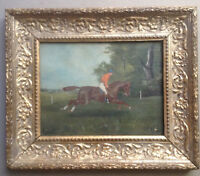 ANTIQUE OIL PAINTING 19th BRITISH HORSE RACING  JOCKEY ON HORSE BY JOHN c1890