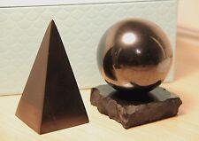 Shungite high pyramid big sphere schungit ball stone set EMF protection energy