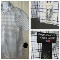 Polo Jeans Co. Ralph Lauren Men's Sz XL White Blue Plaid Button Down Shirt EUC