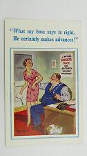 1950s Donald McGill Risque Comic Postcard Banker Pay Day Loan Shark Secretary PA