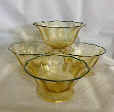 "Lovely Set of 4 Durand 1920s Spanish Yellow Green Rim Optic Ribs Bowls 5""x2 5/8"""