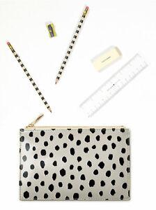 NT⭐Kate Spade Flamingo Dot Pencil Pouch 6 pc Ruler Eraser Tech Cosmetic Case Bag