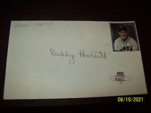 """Buddy"" Hassett (1911-1997) signed 3x5"