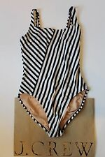 NWT J Crew Scoopback One Piece Swimsuit in Classic Stripe Navy Sz 10 E8409 $88