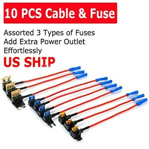 10Pack Car Add-a-Circuit Fuse Adapter w/ Standard & Mini TAP Blade Fuse Holder
