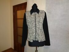JOSEPH RIBKOFF CREPE STRETCH RUCHED TEXTURED SPOTTED PRINT ZIPPED JACKET-L