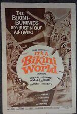 "1967 ""It's A Bikini World"" 1Sh Surfing Surf Movie Original Poster - 27""x41"""