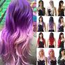 Popular Women Full Wigs Long Wavy Curly Ombre Purple Pink White Blonde Hair Tgv3