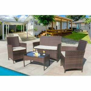 Outdoor Patio Dining Set Sectional Furniture Chairs Couch Wicker Summer 4 Pieces