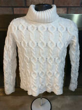 Paul James 100% Wool Cable Knit Sweater Womens Size Small Made in England