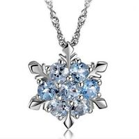 Fashion Charm Jewelry Crystal Snowflake Flower Silver Necklace Pendant Nice Gift
