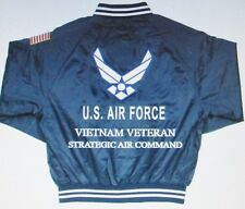 STRATEGIC AIR COMMAND*VIETNAM VETERAN*AIR FORCE EMBROIDERED 2-SIDED SATIN JACKET