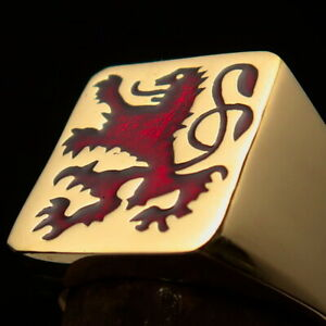 MENS BRASS COAT OF ARMS PINKY RING SCOTTISH RAMPANT RAMPAGN LION RED SIZE 11