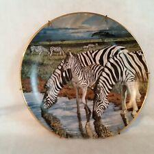 Zebra Plate w/ Hanger African Oasis by Lindsay Scott Ltd Edtn A200 Danbury Mint