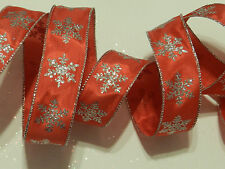 """2 1//2/"""" W x 10yd Satin Wired Ribbon~Honeycomb Style~Glitter Red//Gold//Brown"""