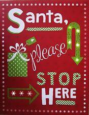 LED Light Arrow Santa Please Stop Christmas Framed Canvas