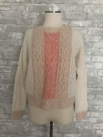 Sleeping On Snow by Anthropologie Size M Cream Peach Pullover Cable Knit Sweater