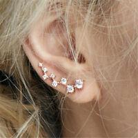 Womens Crystal Star Flower Gold Ear Cuff Studs Earring Wrap Clip On Ear Gift