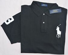 New 2XLT 2XL TALL POLO RALPH LAUREN Mens Big Pony shirt top black 2XT solid NWT
