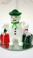 New Glass Snowman Christmas Tree with Removable Ornaments Hand Blown Mirror Base