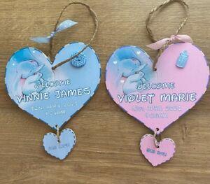 Newborn Baby Personalised Plaque, Wooden Gift, Dumbo Girl Boy Nursery Sign Birth
