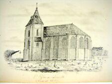 Original Dessin Mine de Plomb L'Eglise de Lourville par Felix Benoist Daté 1851