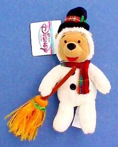 Disney WINNIE POOH Vintage Beanie SNOWMAN Plush BEAN BAG Toy NEW w TAG