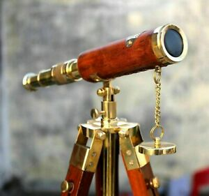 Nautical Brass Antique Leather Telescope Wooden Tripod Collectible Marine Scope