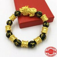 Feng Shui Black Obsidian Alloy Wealth Bracelet Quality 100% Natural Stone US