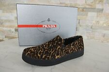 PRADA Gr 36,5 Slipper Mokassins Slip-On Schuhe Leopard Kalbsfell NEU UVP 570€