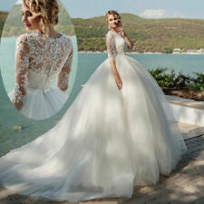 White/Ivory Lace/Tulle Ball Gown Wedding Dress Bridal Gown Prom Custom size