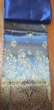 !Beautiful Silk Fabric  synthetic Thai Tradition for wedding dress 2pcs Blue #
