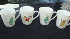 MB Merry Brite Stoneware Merry Christmas Coffee Mugs Complete Set of 4 Retired