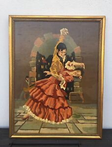 Vintage Spanish 1950's/ 60's Colourful Oil Painting Of Flamenco Dancers