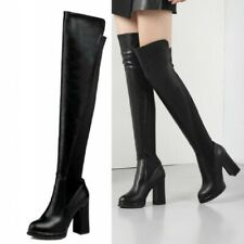 Women Punk Gothic Block High Heel Round Toe Over The Knee Thigh High Boots 34-39
