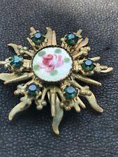 Cloisonné Pink Green Rose Green Rhinestone Goldtone Vtg Antique Sunburst Brooch