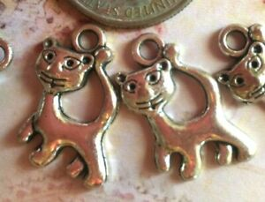 Cat Charms Little Kitty Walking Antique Silver Tone 50 pcs 17x12mm DIY Jewelry