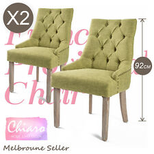 2 x Dining Chair French Provincial Brass Studded Fabric Oak Legs Cafe AMOUR - GN