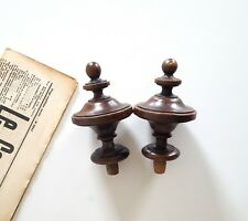 Pair of Antique turned wood finial Salvage architectural Furniture 5.04""