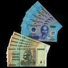 5 x 20,000 Vietnam Dong  {= 100,000} + 5 x 20 Billion Dollars Zimbabwe Banknotes