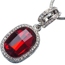 17.90 Ct Oval Cut Style Shape Red Garnet / Ruby CZ 18K White Gold Plated Pendant