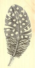 FEATHER Guinea Fowl Feather Wood Mounted Rubber Stamp JUDIKINS 3817F New