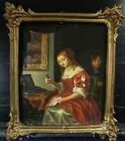 Portrait Der Liebesbrief Rokokorahmen Öl Holzplatte 19Jhd nach 17Jhd