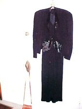 New listing Vintage 1940s black sequin crepe dress with sequined jacket size S
