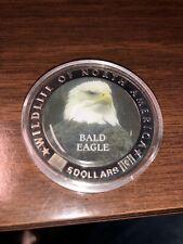 2000 LIBERIA FIVE DOLLARS WILDLIFE OF NORTH AMERICA SILVER BALD EAGLE COIN