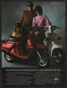 1983 Red & White YAMAHA RIVA Scooter - Motorcycle - Dog - Goggles - VINTAGE AD