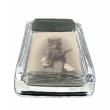 """Vintage Cat D13 Glass Ashtray 4""""x3"""" Old Fashioned Classic Retro Image Cute Funny"""