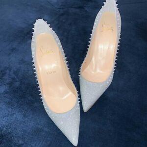 Christian Louboutin Silver Anjalina 100 Ab Glitter Spike Stiletto Pointed Heels