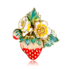 Women Alloy Red Strawberry Enamel Brooch Lapel Scarf Pin Accessories Gifts